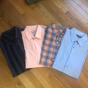 Bundle of 4 men's dress shirts. Lg sleeve button